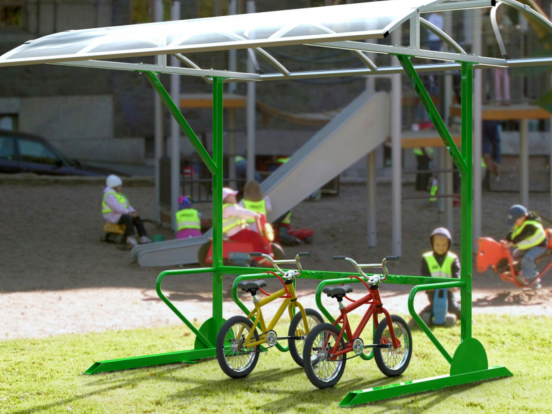 Bike racks with shelter